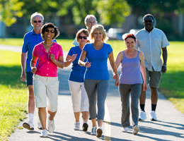 walk with friends or with a group for exercise that is social and fun